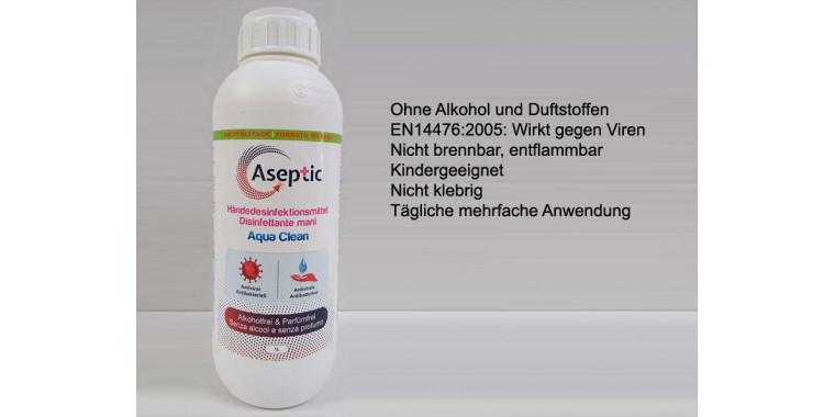 Aseptic AquaClean hautfreundliches Händedesinfektionsmittel 1 Liter (alkoholfrei)