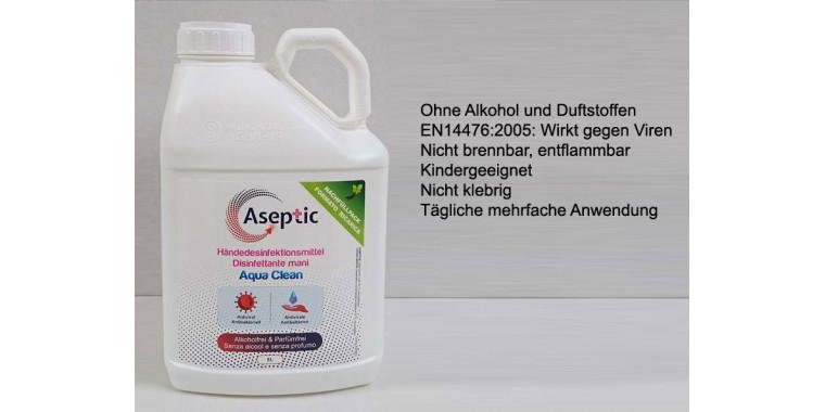 Aseptic 2 x 5 Liter AquaClean hautfreundliches Händedesinfektionsmittel (alkoholfrei)