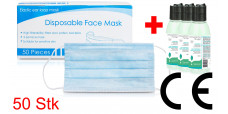 Respirator mask, disposable mouth and nose, protective mask 50 pieces + 3 x 100ml sanitizer