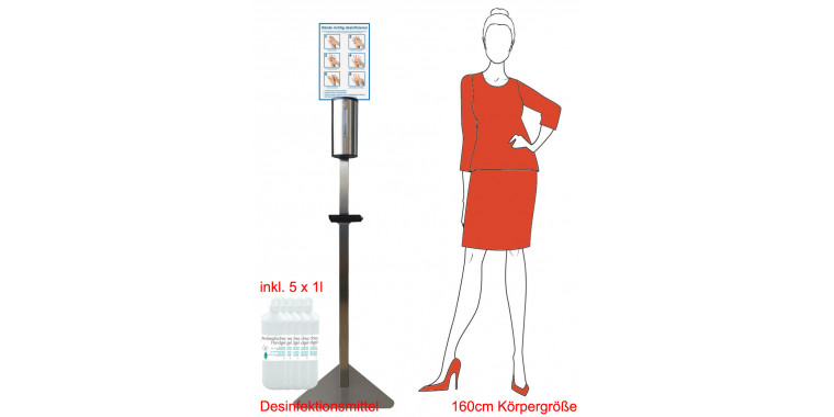 Automatic stainless steel disinfectant dispenser 700ml Contactless with sensor & 5l desinfectant