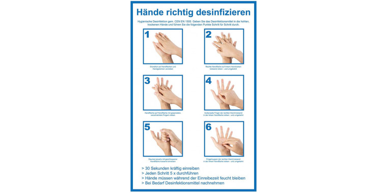 Motif Correctly disinfect hands EN 1500 sticker for stainless steel stand