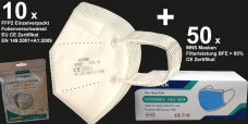 10 x FFP2 Atemschutz Maske einzelverpackt & 50 x MNS BFE 95% Maske CE EN 149:2001 + A1:2009