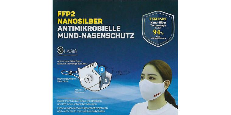 2 x respirator mask reusable FFP2 / KN95 washable nano silver 94% fabric
