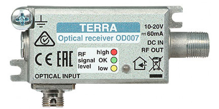 Terra OD007 Optical Node FTTH Receiver für DVB-C/T & 1x SAT IF (DVB-S2)