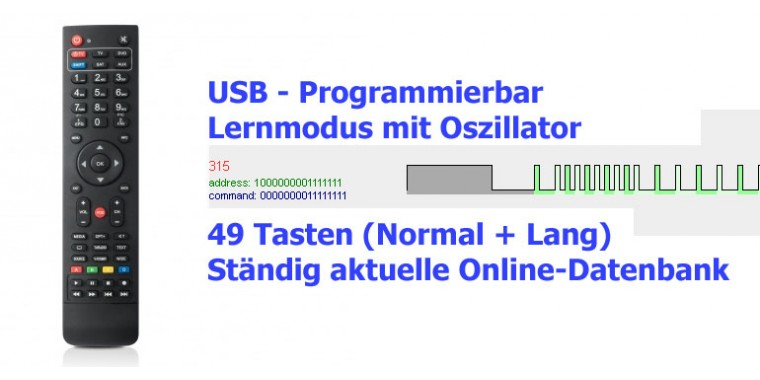 Satmedia 4in1 Fernbedienung USB programmierbar/lernbar