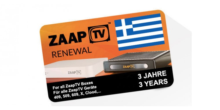 ZaapTV Renewal Card, 3 years subscription Greek